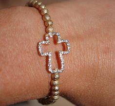 Trendy Side Cross Bracele Gold Beads by StringofLove on Etsy, $16.00