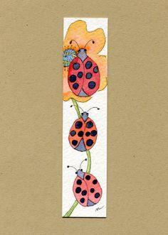 Ladybugs, three, original watercolor bookmark.