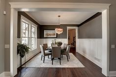 Trim color is ...Benjamin Moore Casa Blanca SW 7571  Front Foyer color is...Pratt & Lambert Dawn Mist-32-25  Dining room color is...Sherwin Williams Suitable Brown-SW 7054