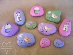 Pastel painted stones