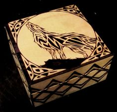 Celtic Wolf Knotwork Wood Burned Stash/Jewelry box - OOAK - Black Stague Original Design