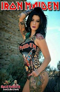 Iron Maiden Fans Forever added a new photo. Iron Maiden, Chica Heavy Metal, Heavy Metal Girl, Tattoo Girls, Girl Tattoos, Tattoos For Women, Ladies Of Metal, Hot Tattoos, Flower Tattoos