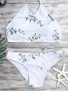 218c205a14caf Tie Back Leaf Print Bikini Set - WHITE S Mobile Leaf Prints