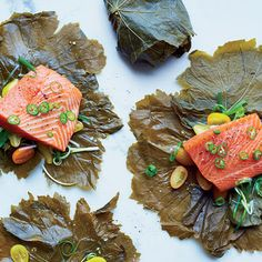 Grape Leaf-Wrapped Salmon with Serrano-Scallion Sauce @keyingredient #tomatoes