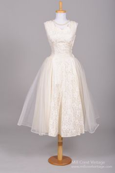 Vintage 1950s Tea Length Wedding Dress from Mill Crest Vintage