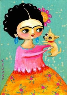 'Frida Kahlo and Chihuahua Puppy' folk art PRINT of an Original Painting by 'tascha' on Etsy♥≻★≺♥ Diego Rivera, Illustrations, Illustration Art, Jace, Frida Art, Chihuahua Puppies, Chihuahuas, Mexican Folk Art, Acrylic Painting Canvas