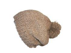Slouchy Hat, Ski Hat, Pom Pom Hat, Alpaca Beanie, Knit Adult Hat Merino by thekittensmittensuk on Etsy
