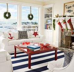14 Merry Coastal Beach Christmas Mantels. Love the room, but the view...time to do some dreaming :)