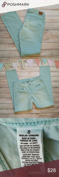 """American Eagle Aqua Skinnies Excellent condition with intentional fading. 31.5"""" inseam. Sort of turquoise mint color, calling it aqua. American Eagle Outfitters Jeans Skinny"""