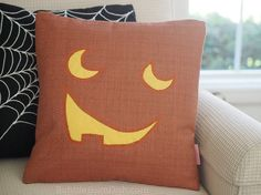 Jacky the Jack o Lantern Pumpkin Pillow Cover by BubbleGumDish