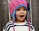 Crochet Hat for Girls, earflap hat, baby hat, kids hat, newborn photo prop