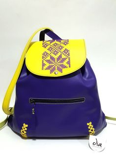 Not latvian but has an auseklis Leather Bags Handmade, Leather Backpack, Fashion Backpack, Monitor, Indigo, Backpacks, Folk, Design, Embroidery