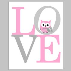 Love Nursery Owl Print, Digital File, Printable Owl Decor, Gray and Pink Owl Nursery, Nursery Wall Decor, Woodland Nursery, Nursery Quotes, Owl Print, Baby Room, Typography, Inspirational Quotes, Printables