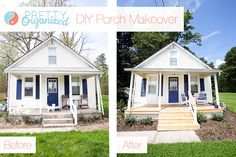 DIY Porch: A Pretty Porch for Pennies  How to build a wooden deck over an existing concrete porch & created your own trim on the cheap!
