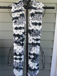 crocheted crocodile stitch scarf..