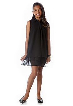 DKNY Faux Leather Collar Chiffon Dress Girls 7-16