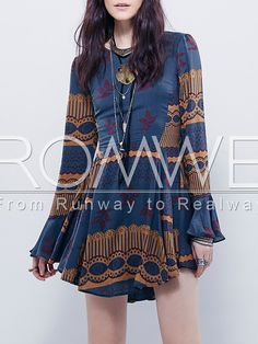 Multicolor Long Sleeve Vintage Print Dress 22.99