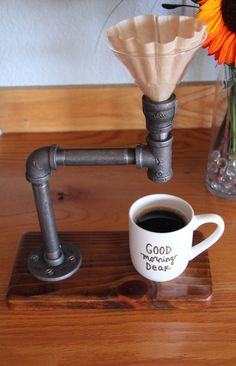 Industrial Pour Over // Coffee Maker // Reclaimed wood base // Industrial pipe // Handmade Coffee Maker by KorandMare on Etsy