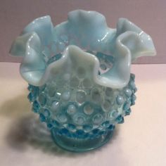 FENTON RUFFLED VASE BLUE OPALESCENT HOBNAIL~This is what me and my mom collect