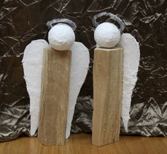 DIY Christmas angels made from logs - click for instructions | Holzscheit-Engel, selbstgemacht - mit Anleitung