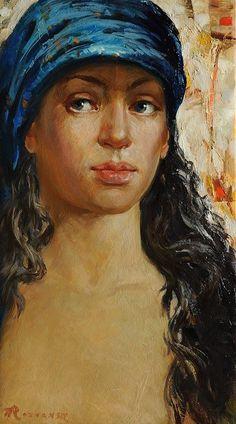 In a blue scarf Oil... by Anatoliy Rozhansky