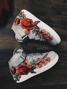 Image of 🔴 Red Bottom Embroidery Mid - Gray 🌾❕ Image of 🔴 Red Bottom Embroidery Mid - Gray 🌾❕ White Nike Shoes, Nike Air Shoes, Custom Painted Shoes, Custom Shoes, Sneakers Fashion, Shoes Sneakers, Hype Shoes, Fresh Shoes, Kinds Of Shoes