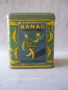 ANCIENNE BOITE PUBLICITAIRE EN TOLE FER BLANC BANAO CONCURRENT DE BANANIA RARE