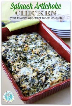 Spinach artichoke dip meets chicken in this absolutely flavorful, bubbly, and golden delicious meal. Bakerette.com