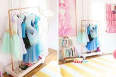 Halloween Costumes // How to organize your kids costumes // playroom // dress up and costume nook // storage solutions // home organizing // www.SimplySpaced.com