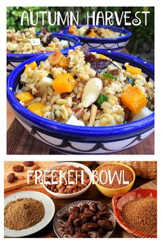 Autumn Harvest Bowl- With Freekeh! Middle East Food, Community Supported Agriculture, Autumn Harvest, Almonds, Butternut Squash, Recipe Using, Family Meals, Quinoa, Dates