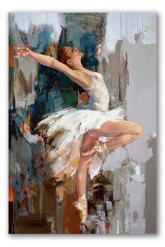 """Retrato moderno """"Bailarina prima dona"""" - Muestra a la figura principal del ballet, pintada en estilo realista. Al fondo se tejen manchas abstractas de tonos ocre.  La composición destaca la figura y anatomía de la muchacha en el momento cumbre de su actuación."""