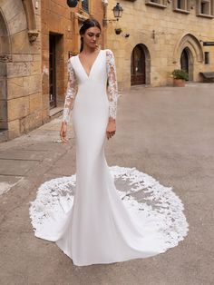 Discover our Pronovias Wedding Dress Collection. View our amazing selection of unique bridal dresses and gowns featuring the latest trends. Crochet Wedding Dresses, Wedding Dress Sleeves, Long Wedding Dresses, Long Sleeve Wedding, Bridal Dresses, Lace Sleeves, Simple Wedding Dress With Sleeves, Simple Elegant Wedding Dress, Sparkly Bridesmaid Dress