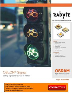 Colorful portfolio and OSLON Signal LEDs from Osram for signal applications to support cutting edge traffic light designs with a reduced number of LEDs per signal. It is featured as long lifetime materials, silicone & ceramic and has the flexibility for different designs. For more info & inquiry please visit us @ Rabyte.com  #trafficlight #signalled #ledlight #workinglights #emergencyvehicle #signalapplications #rabyteelectronics #semiconductors #chiptechnology #trafficlightapplication World In Motion, Led Lighting Solutions, Traffic Light, Emergency Vehicles, Lighting Design, Markers, Colorful, Number, Technology