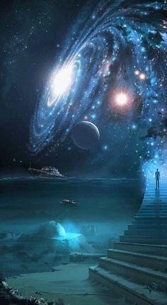 Stairway to the cosmos. Stairway to the cosmos. Fantasy Kunst, Galaxy Wallpaper, Planets Wallpaper, Wallpaper Art, Milky Way, Science And Nature, Science Space, Art Nature, Science Art