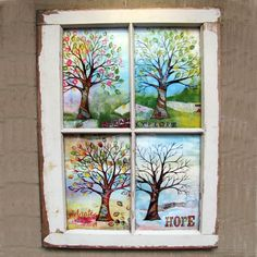 Shirley's trees window pane framed four seasons mixed media tree by fromvictoryroad Painted Window Panes, Window Pane Art, Wooden Window Frames, Old Window Projects, Art Projects, Window Ideas, Four Seasons Art, Tree Art, Diy Art