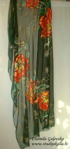 Hand painted natural silk fabric silk painting dark green