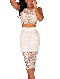 Sexy Women's Floral Lace High-waisted Skirt Set 2 Pieces Bodycon Midi Dress (M, White) WOW CLOTHES http://www.amazon.com/dp/B00QGH7KN6/ref=cm_sw_r_pi_dp_iDyPub18Z8F0K
