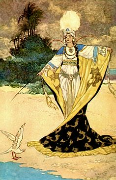 Beder and Giauhara Princess Giauhara changes King Beder into a white bird The Arabian Nights published by Blackie & Sons Limited (London) in 1930 illustrations by Rene Bull