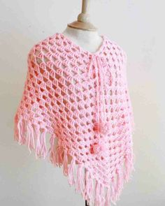 Poncho for kids crochet in pink