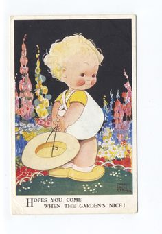 ch1006   girl in garden   art by Mabel Lucie Atwell   art postcard