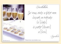 invitation depart a la retraite pot retraite pinterest invitations et pots. Black Bedroom Furniture Sets. Home Design Ideas