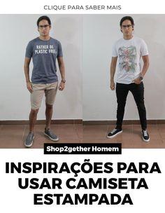 O Sievers pegou várias camisetas estampadas na Shop2gether Homem e montrou looks de inspiração para você fazer seus visuais com estilo.
