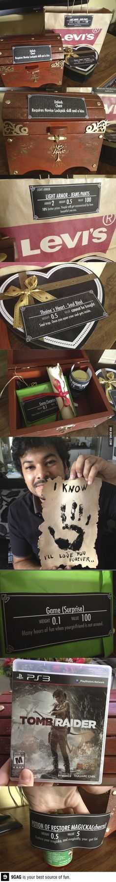 """""""9GAG - Skyrim addicted boyfriend - 7 years dating anniversary gift""""<<< Brilliant!!"""