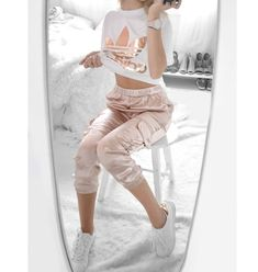 Satin sporty look - follow my instagram here Adidas rose gold shirt Blush satin joggers Rose gold white sneakers