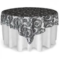 Great site for wedding!! Smarty had a party OLFK90-WHBK 90 x 90 White Damask Overlay with Black Damask Flocking