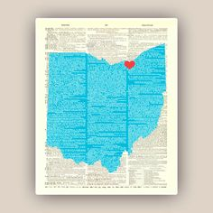 Ohio State Map Art Print Cleveland red hearted city by DigiMarthe, $25.00