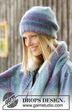 Casually Cozy / DROPS - Knitted hat and scarf in DROPS Delight and DROPS Kid-Silk. The hat is worked in garter stitch and rib; the scarf is worked in garter stitch with angles. Knitting Designs, Knitting Patterns Free, Knit Patterns, Free Knitting, Crochet Mug Cozy, Crochet Shawl, Crochet Lace, Drops Design, Knitted Hats Kids