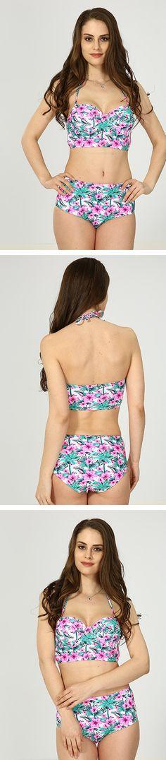 Pink Floral High Waist Bikini Bikini For Women, Halter Bikini, High Waist, Crop Tops, Bikinis, Floral, Pink, Shopping, Fashion