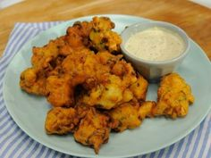 Shrimp Fritters with Cornichon Dressing Recipe : Geoffrey Zakarian : Food Network