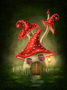 Mushroom House, Mushroom Art, Fantasy Forest, Fantasy House, Forest Drawing, Digital Art Fantasy, Fairy Pictures, Beautiful Fairies, Fairy Art